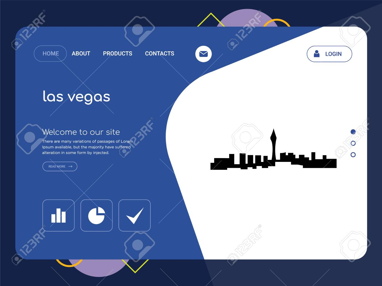 Quality One Page Las Vegas Website Template Vector Eps Modern