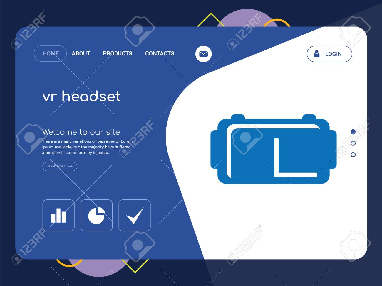 quality one page vr headset website template vector eps modern