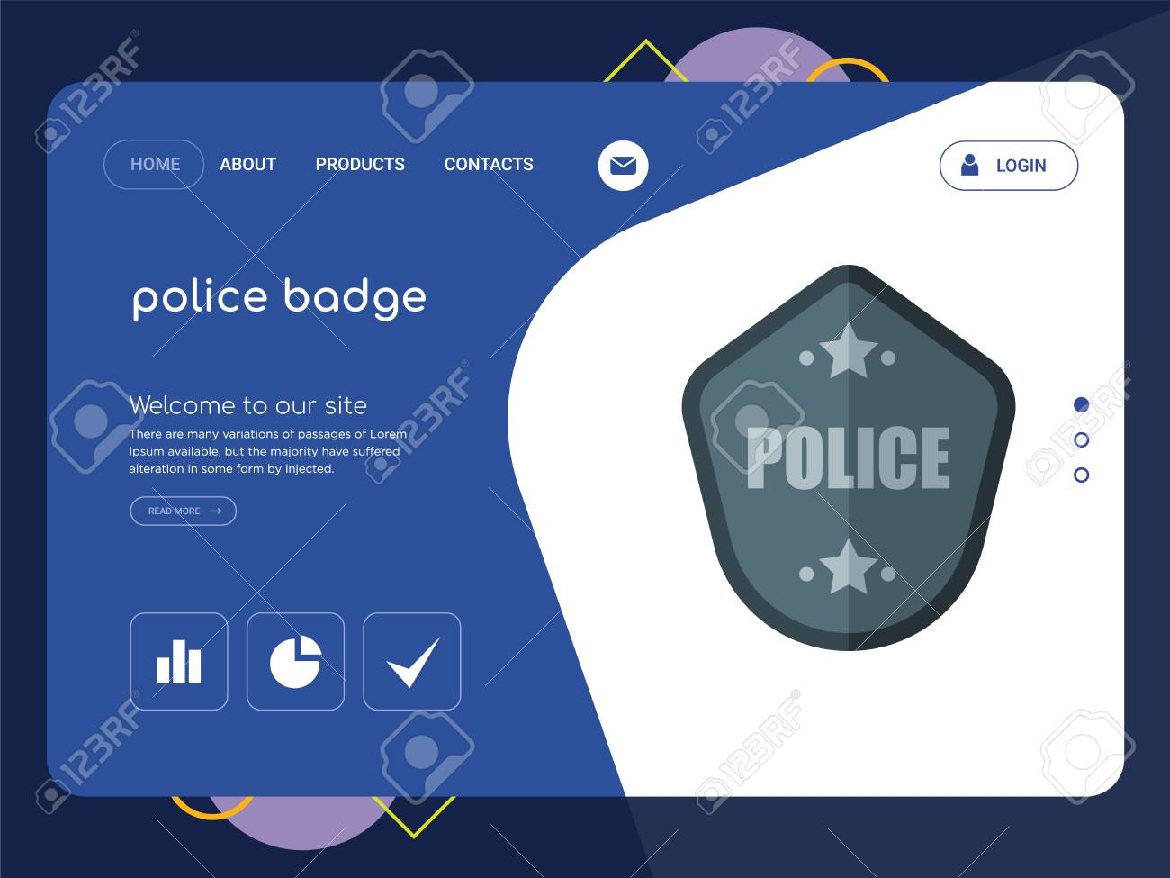 Quality One Page Police Badge Website Template Vector Eps Modern