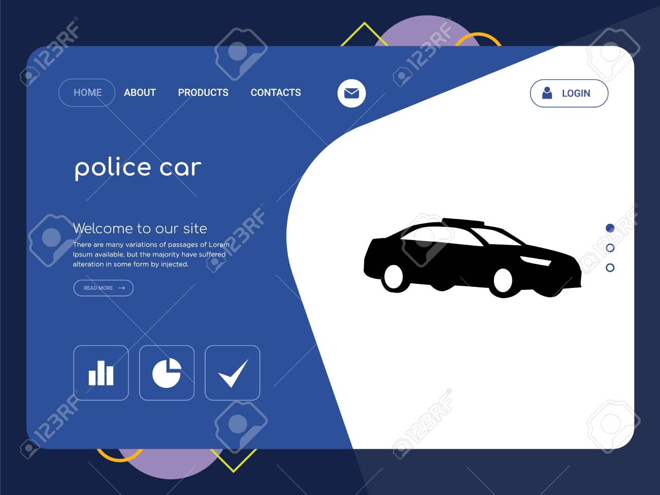 Police Car Website >> Quality One Page Police Car Website Template Vector Eps Modern