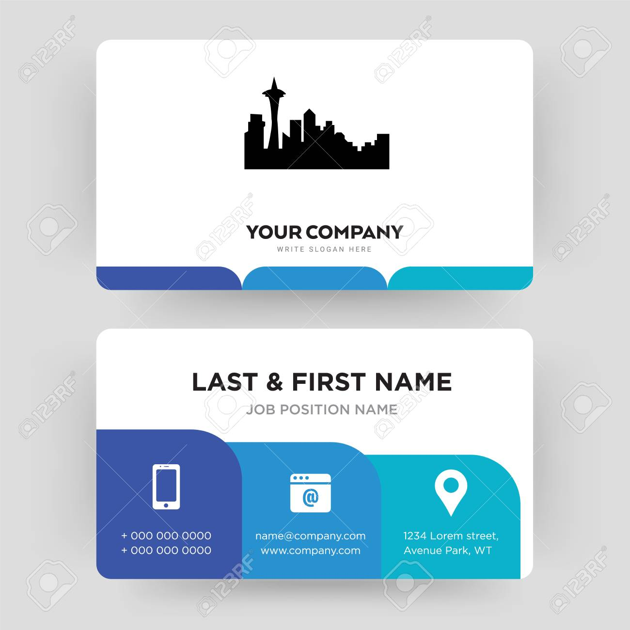 Seattle Business Card Design Template Visiting For Your Company