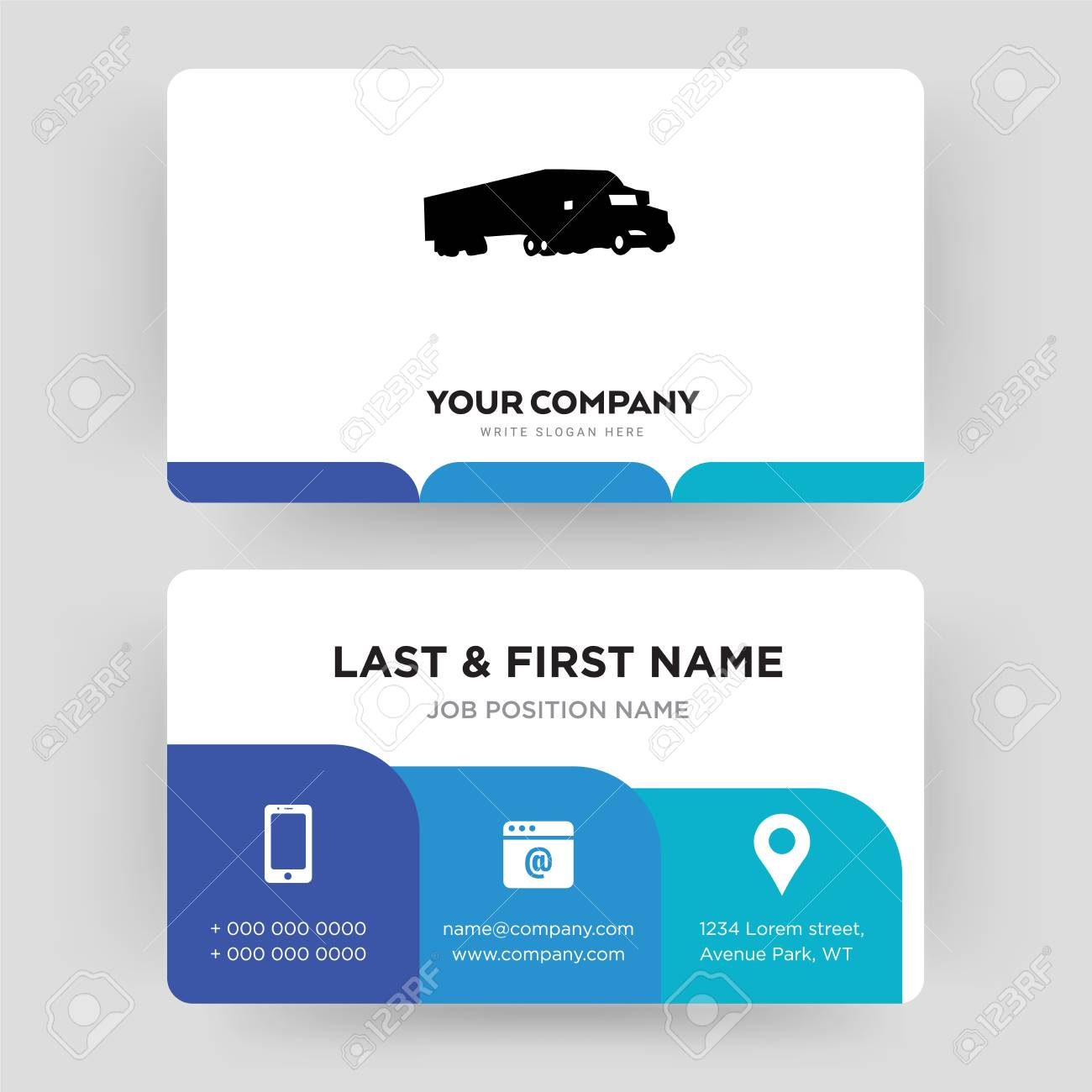 semi truck, business card design template, Visiting for your