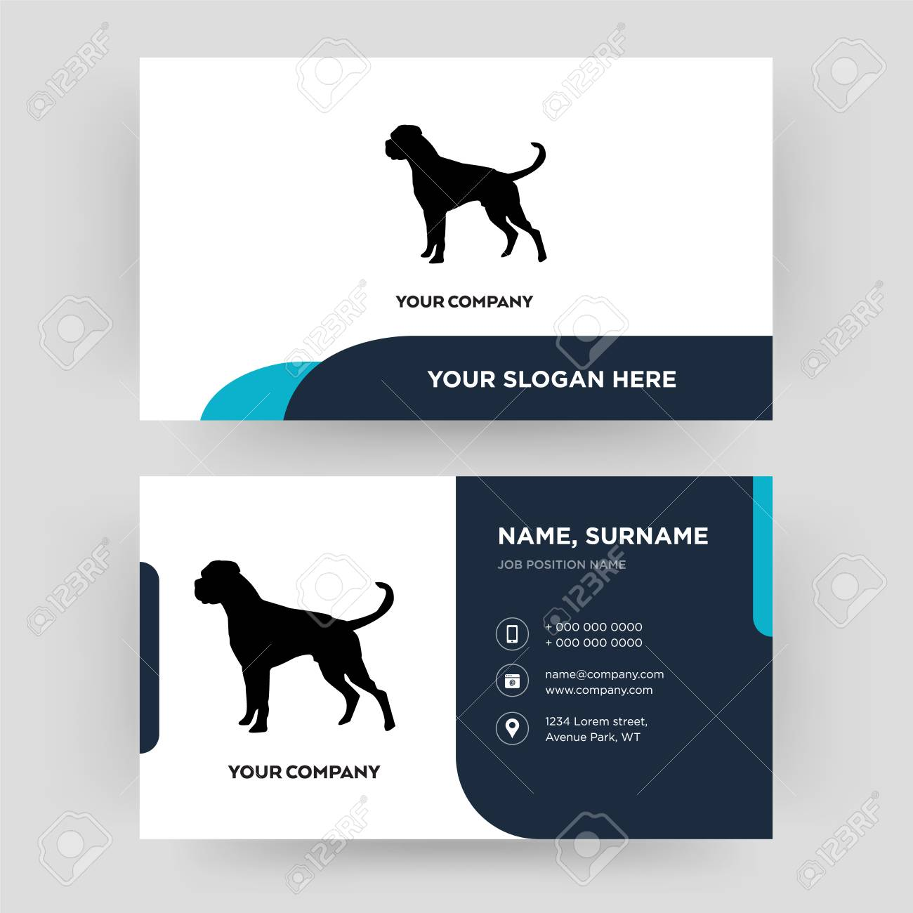 boxer dog, business card design template, Visiting for your company, Modern Creative and Clean identity Card Vector - 102415283