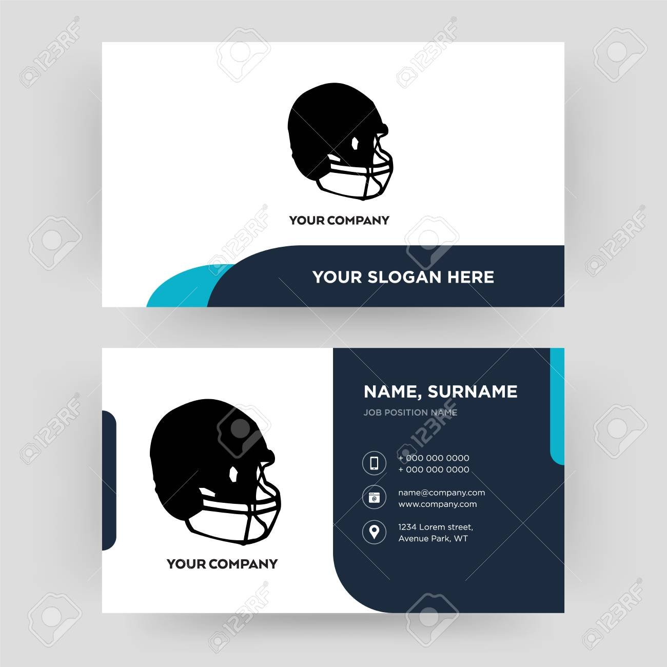 football helmet business card design template visiting for