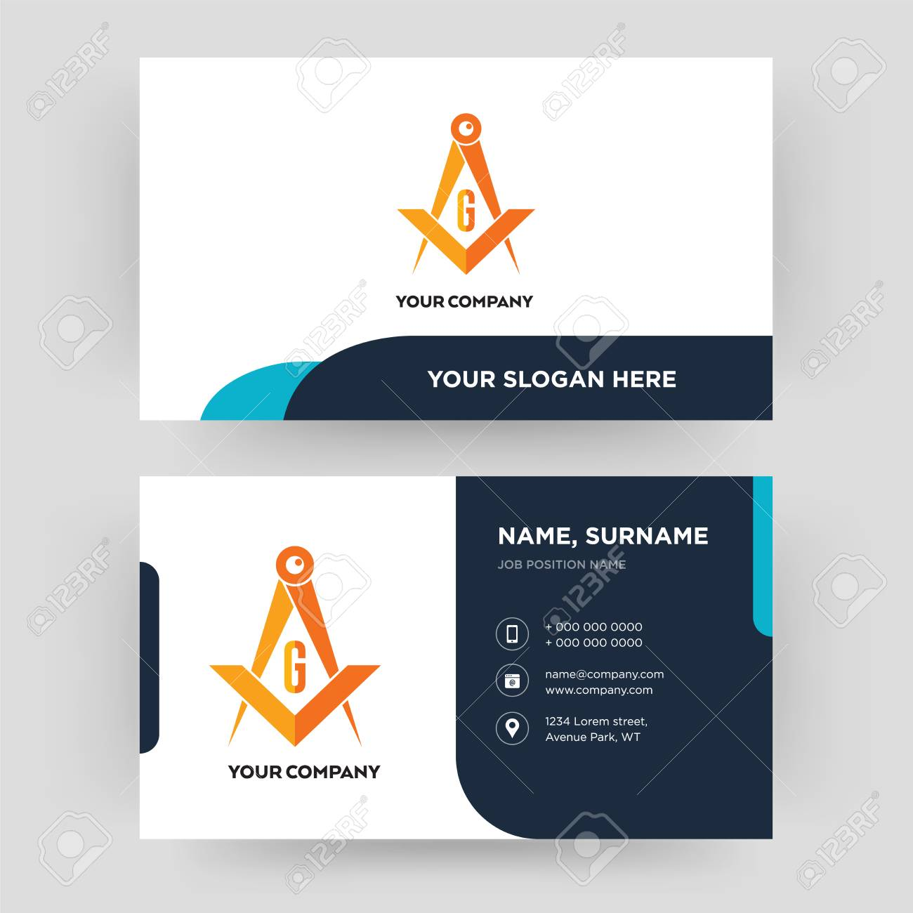 masonic, business card design template, Visiting for your company,