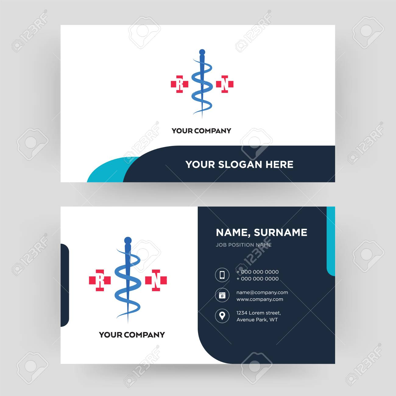 registe nurse, business card design template, Visiting for your company, Modern Creative and Clean identity Card Vector - 102504240