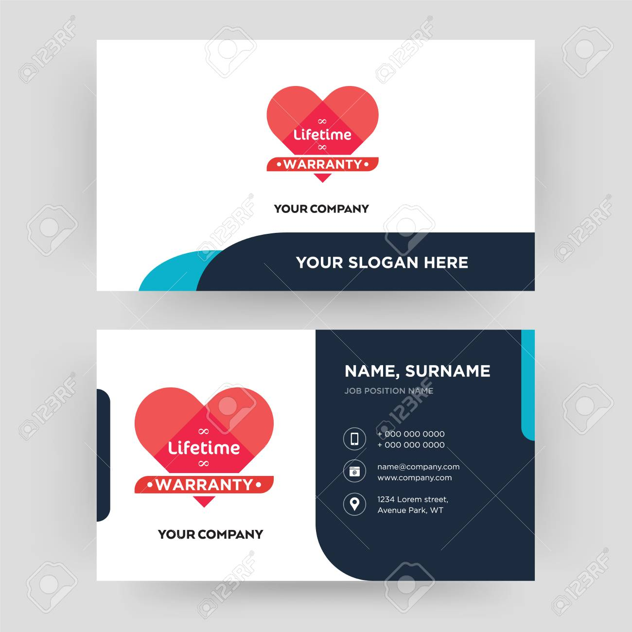 lifetime warranty business card design template visiting for