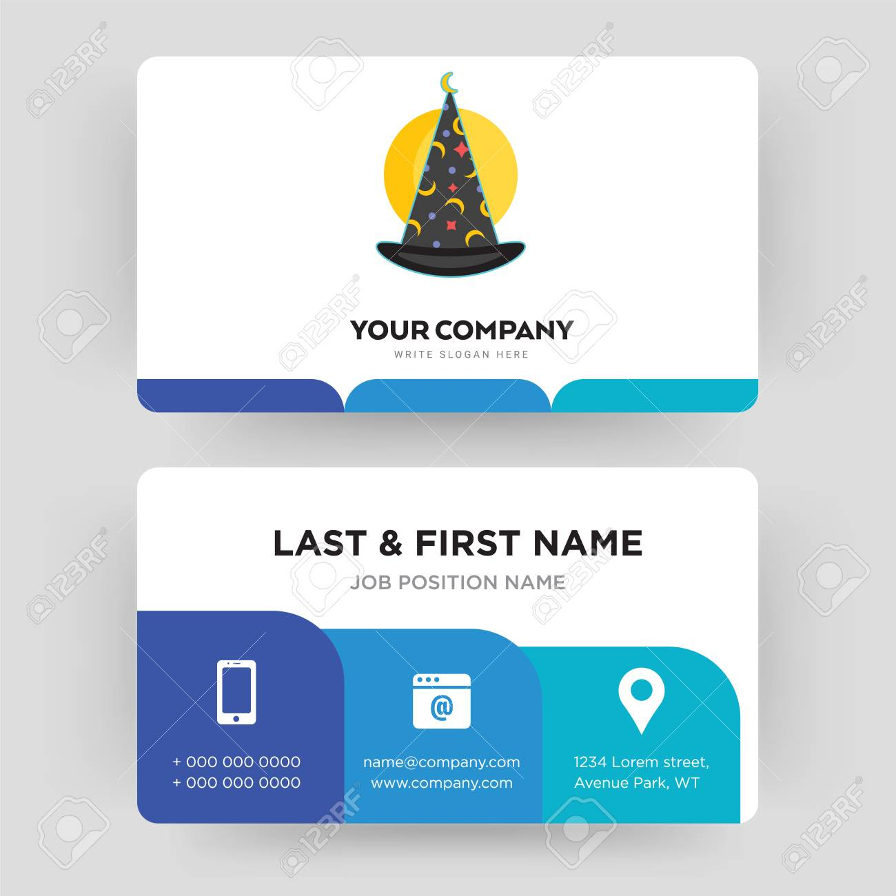 Wizard hat business card design template visiting for your vector wizard hat business card design template visiting for your company modern creative and clean identity card vector reheart Gallery