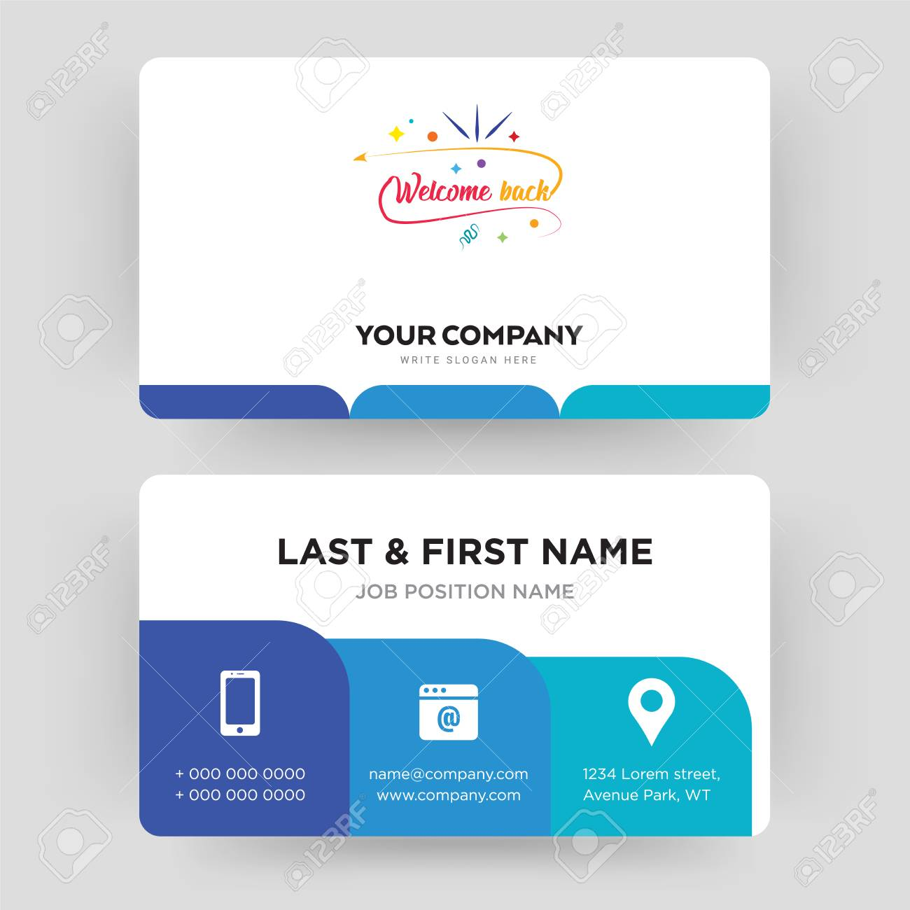 Welcome Back Business Card Design Template Visiting For Your