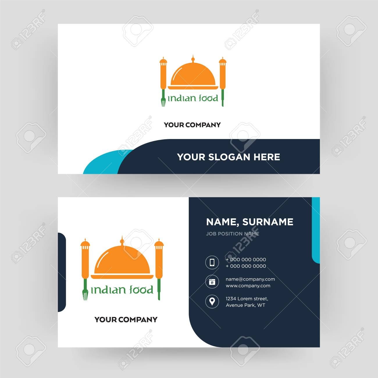 Indian Food Business Card Design Template Visiting For Your