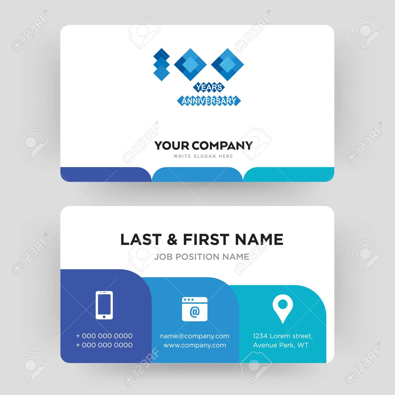 100 Year Anniversary Business Card Design Template Visiting