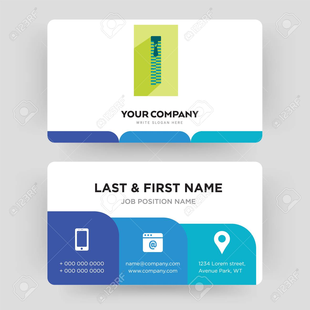 Zipper business card design template visiting for your company vector zipper business card design template visiting for your company modern creative and clean identity card vector flashek Gallery