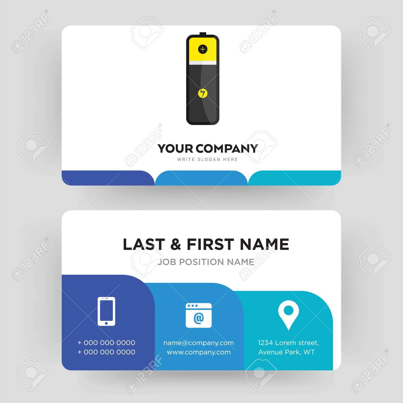 Lithium battery business card design template visiting for your banco de imagens lithium battery business card design template visiting for your company modern creative and clean identity card vector reheart Images