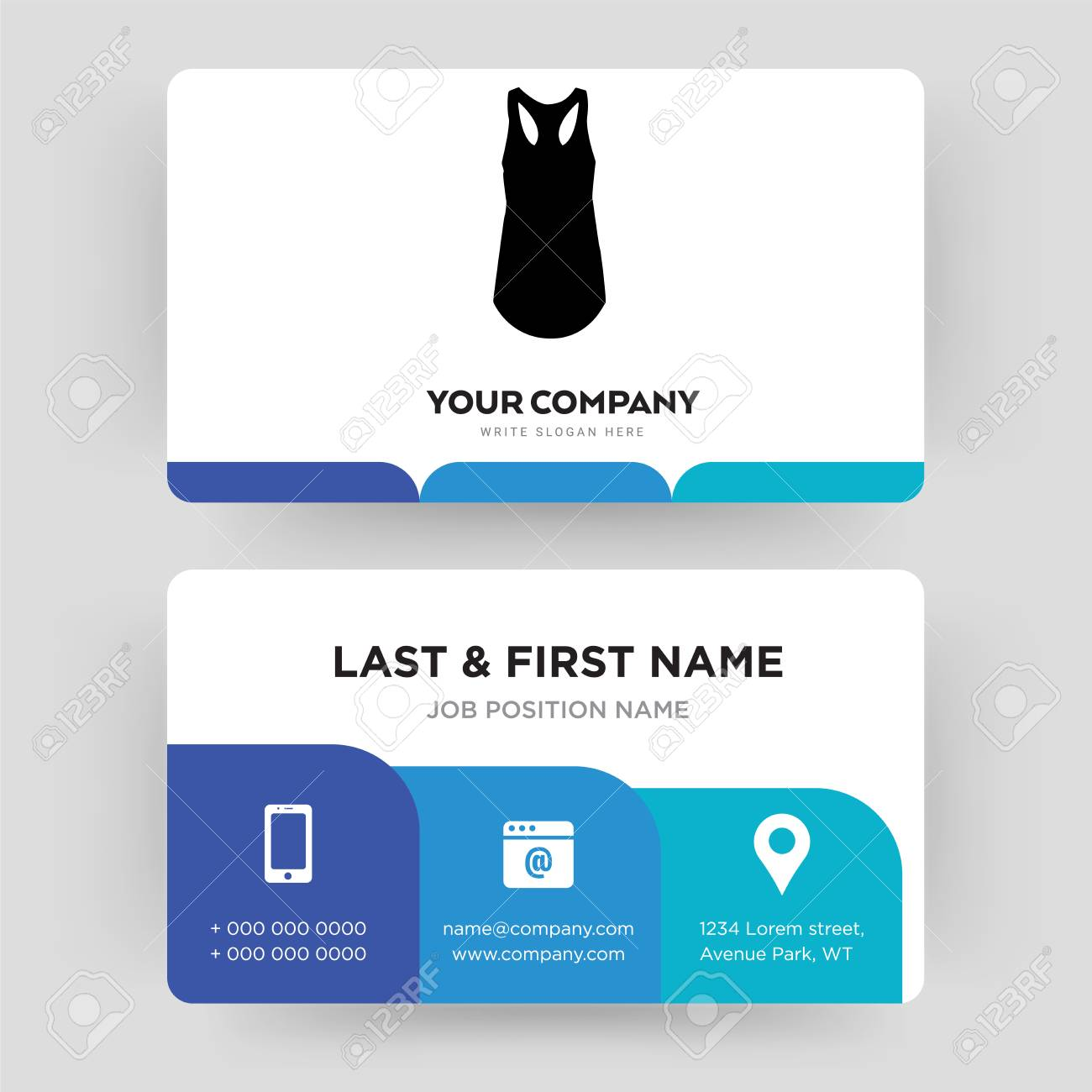 Tank Top Business Card Design Template Visiting For Your Company