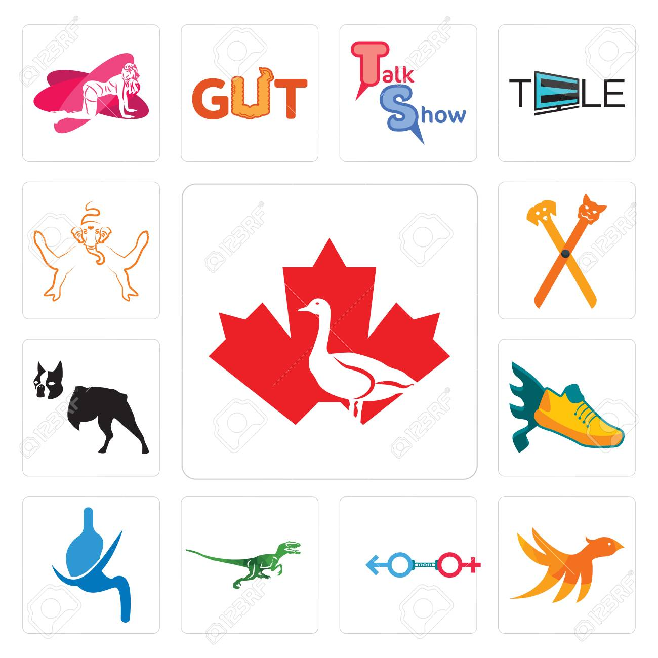 Set Of 13 simple editable icons such as canada goose, bird m,
