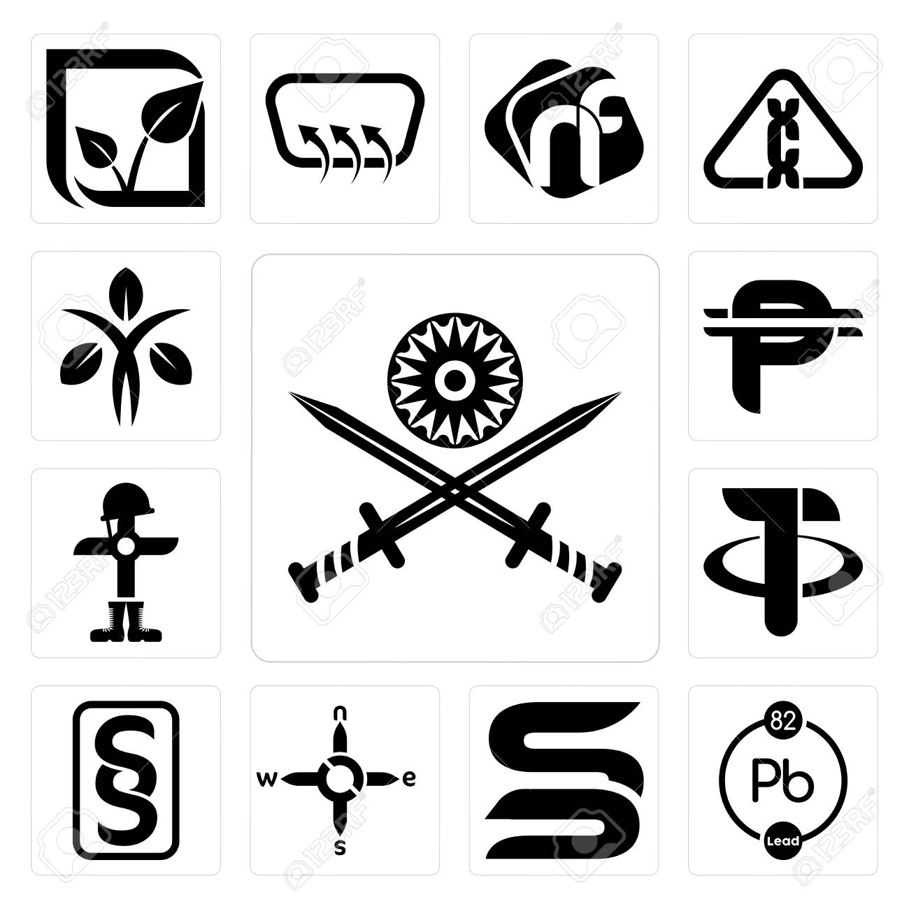 Set Of 13 Simple Editable Icons Such As Indian Army Chemical