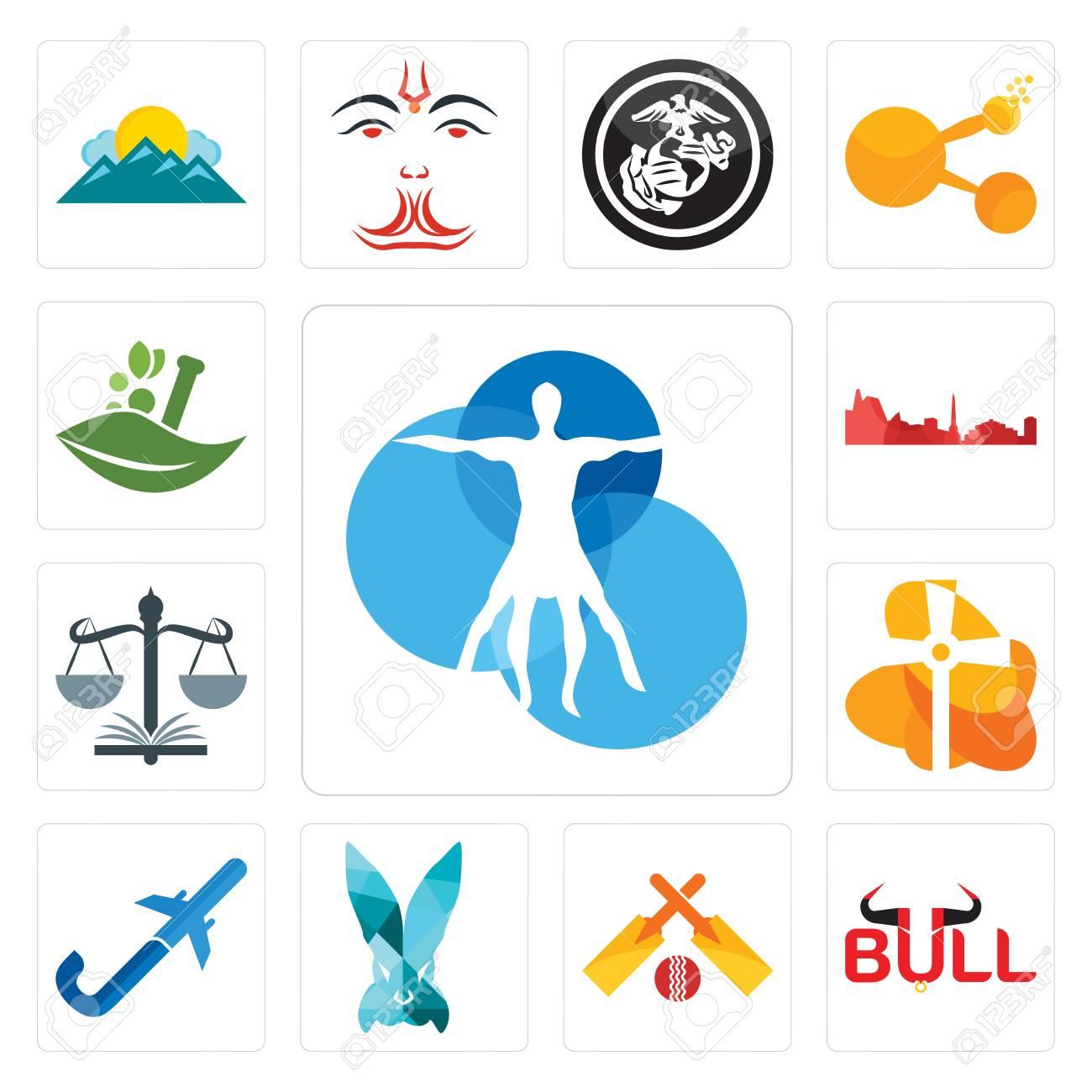 Set Of 13 Simple Editable Icons Such As Vitruvian Man Bull