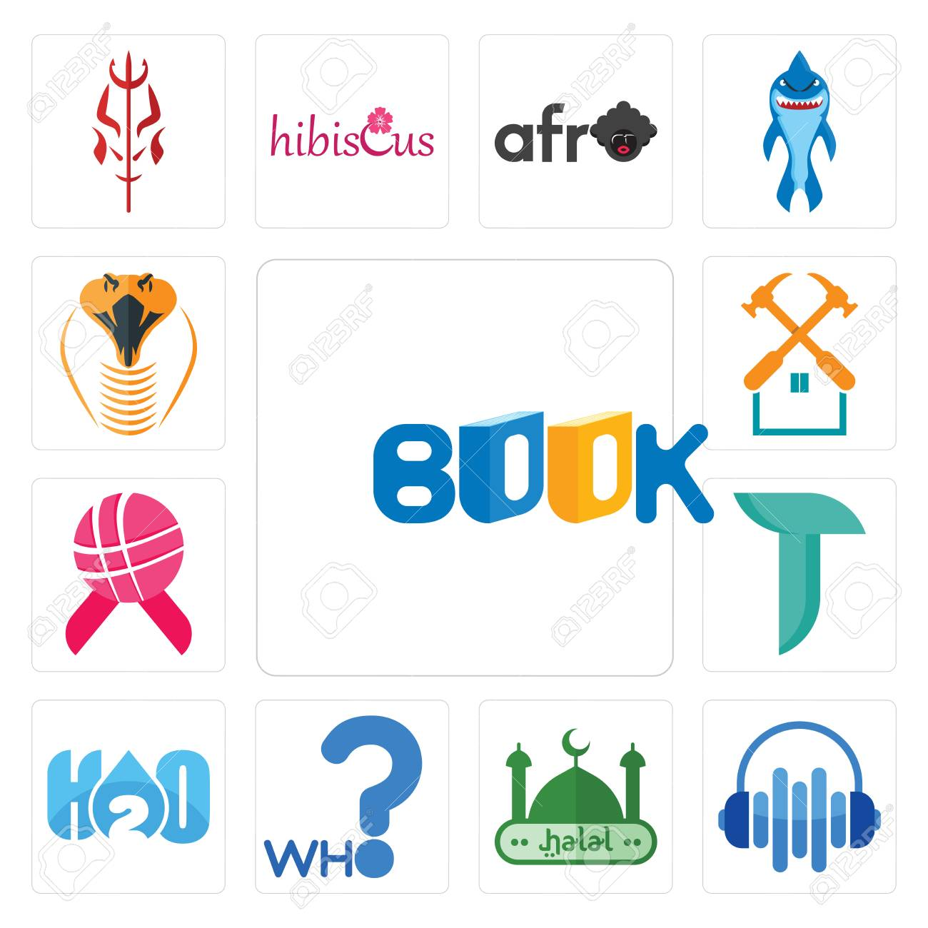 Set Of 13 simple editable icons such as book, audio visual, halal,
