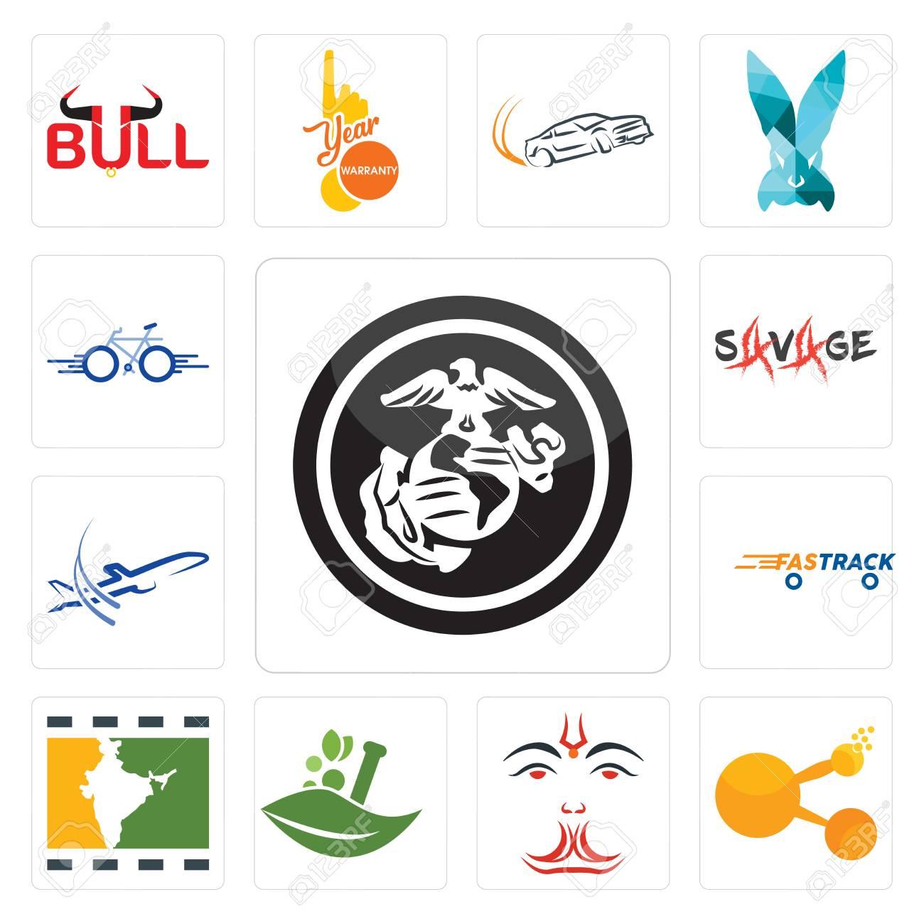 Set of 13 simple editable icons such as usmc bitconnect anjaneya ayurvedic