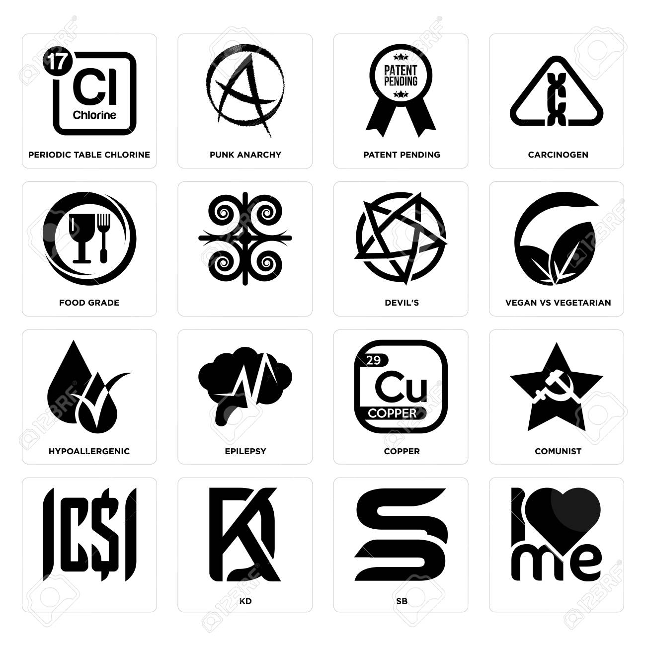 Set Of 16 simple editable icons such as, sb, kd, comunist, periodic