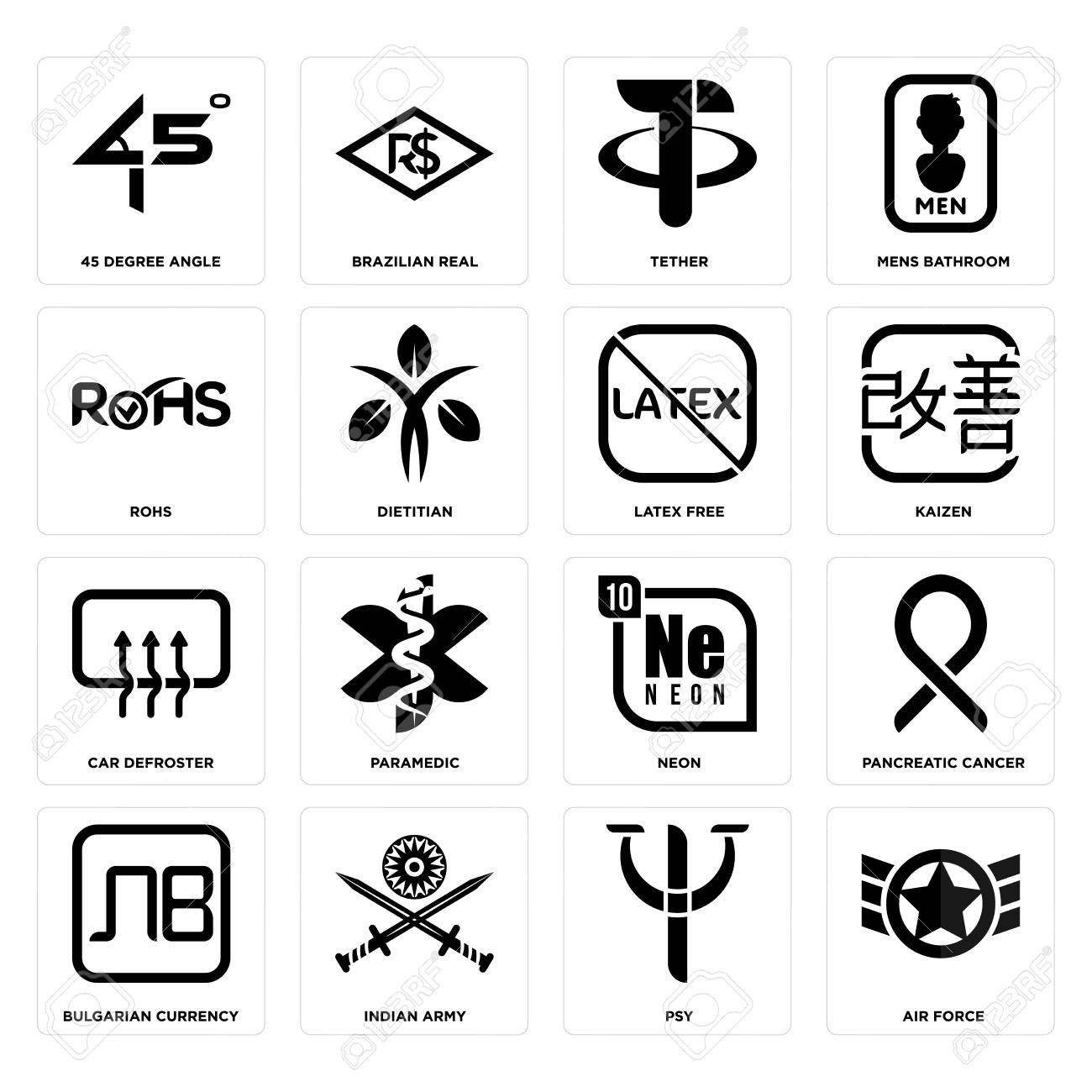 Set Of 16 simple editable icons such as air force, psy, indian