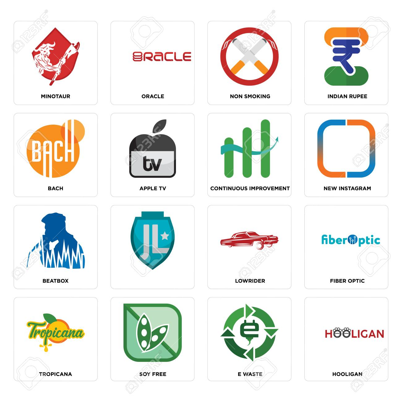 Set Of 16 simple editable icons such as hooligan, e waste, soy free, tropicana, fiber optic, minotaur, bach, beatbox, continuous improvement can be used for mobile, web UI - 102656906