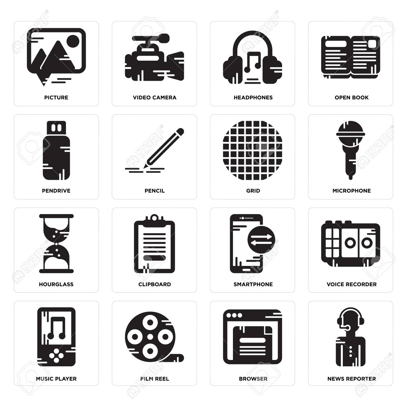 Set Of 16 simple editable icons such as News reporter, Browser,