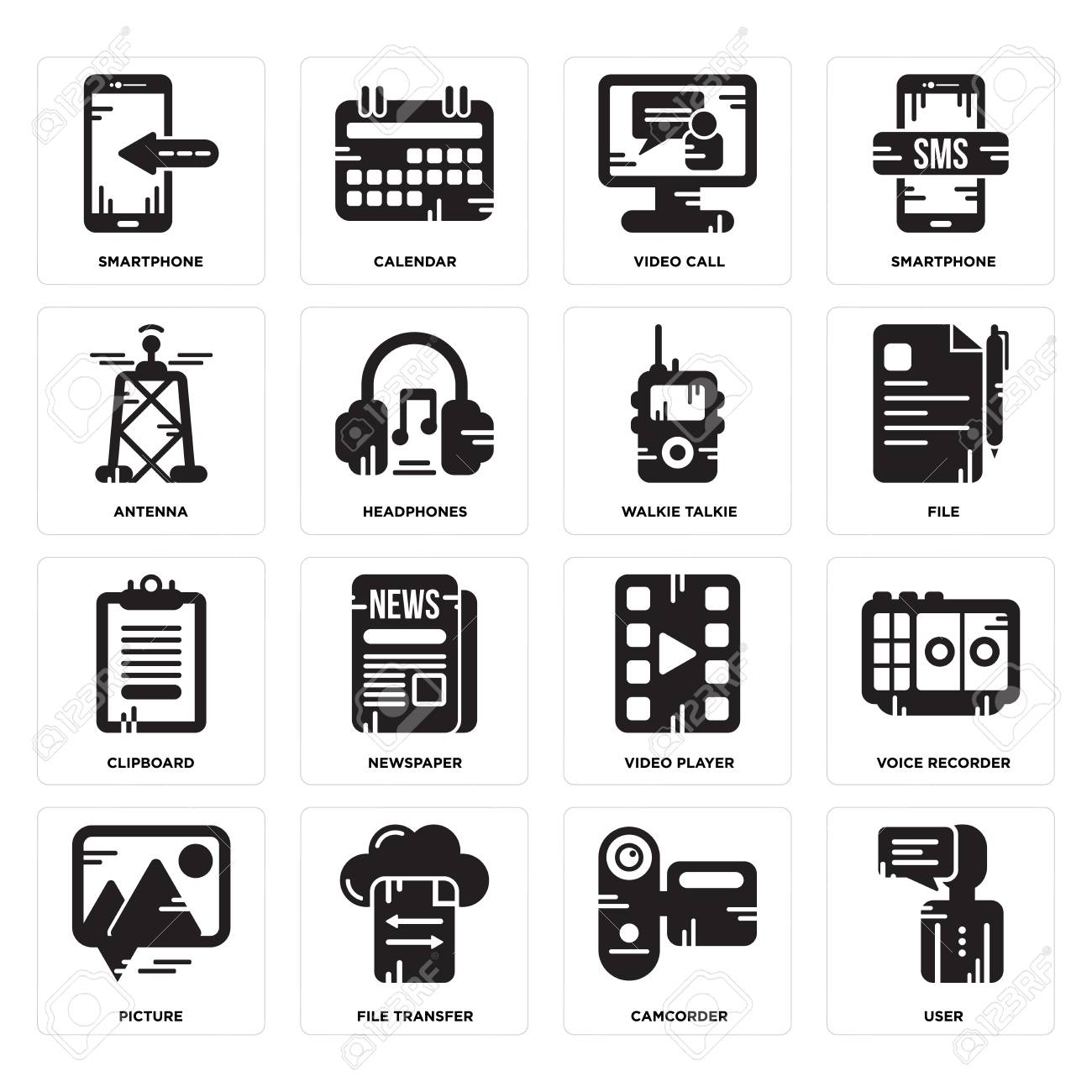 Set Of 16 Simple Editable Icons Such As User, Camcorder