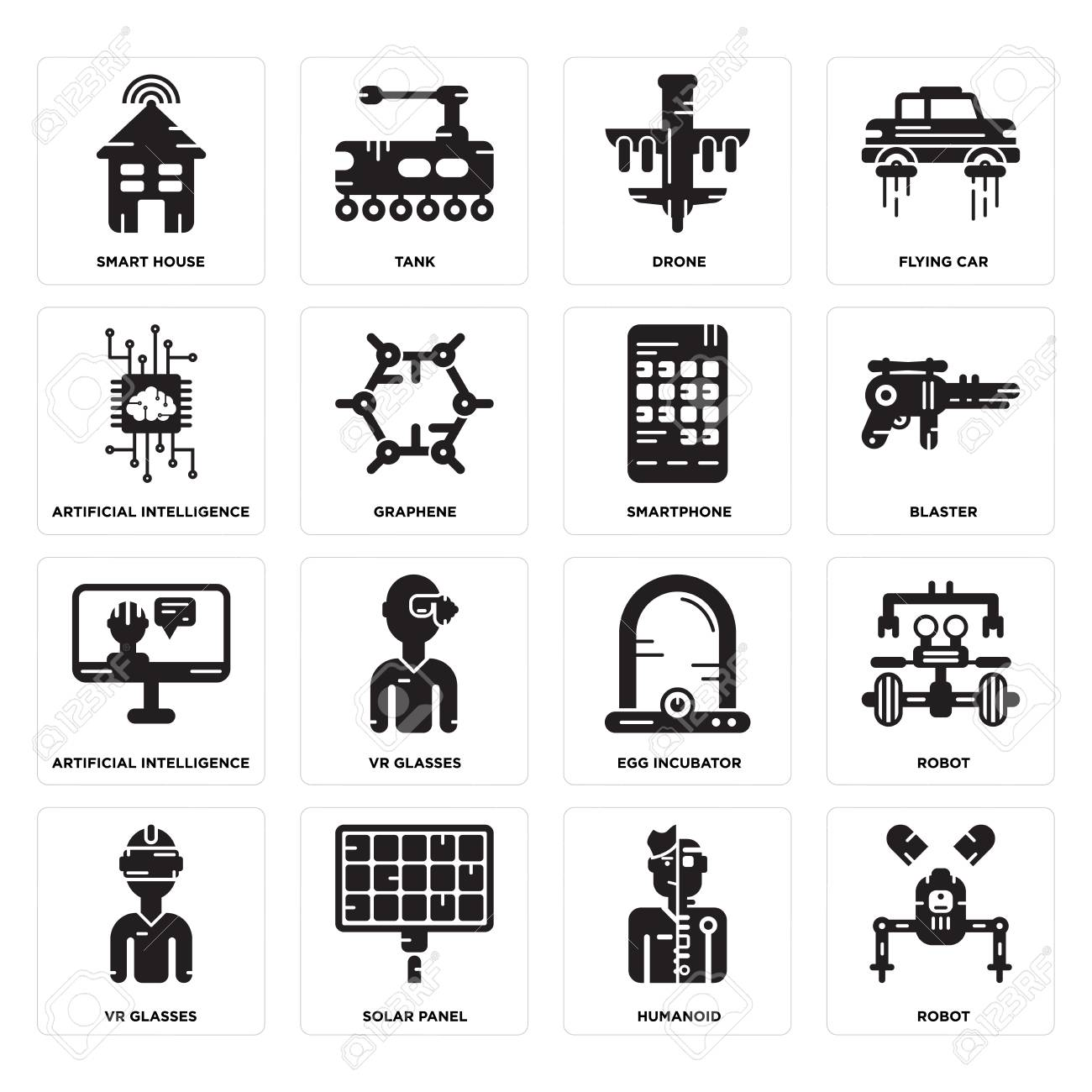 Set Of 16 Simple Editable Icons Such As Robot Humanoid Solar Panel Smart Car Vr