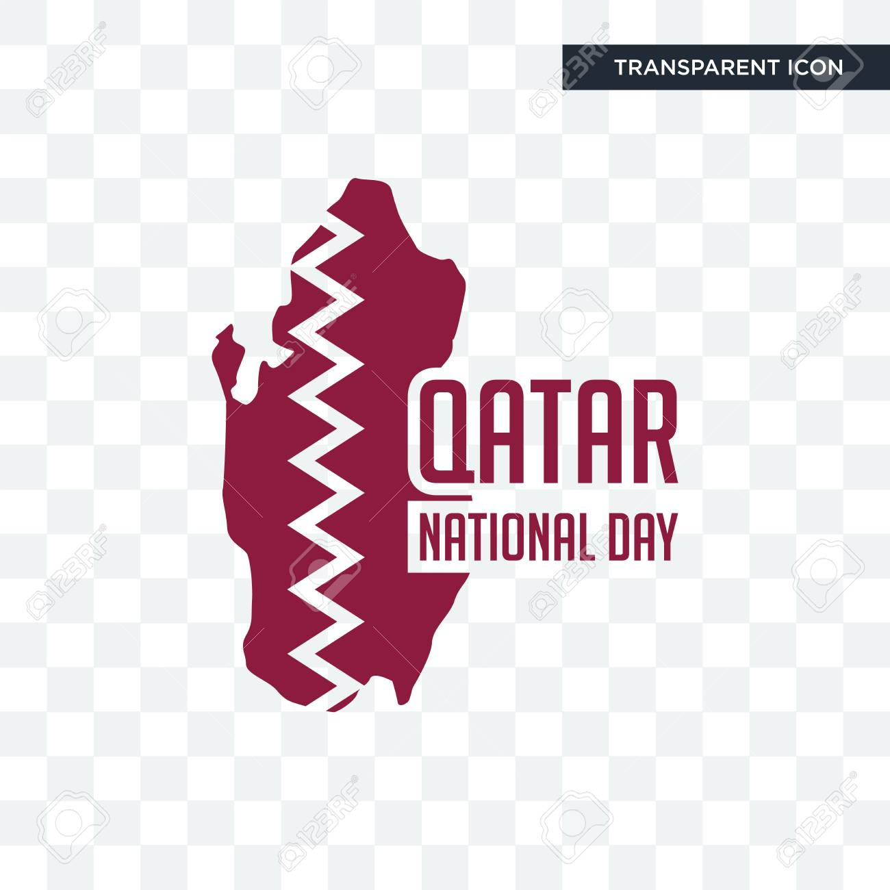 qatar national day vector icon isolated on transparent background,