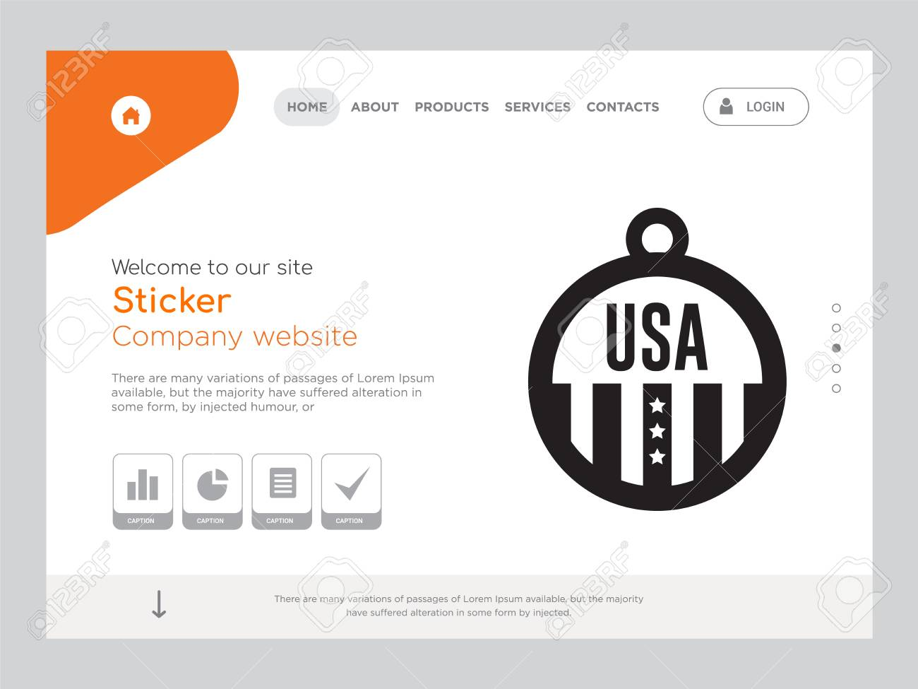 Quality one page sticker website template vector eps modern web design with landscape illustration