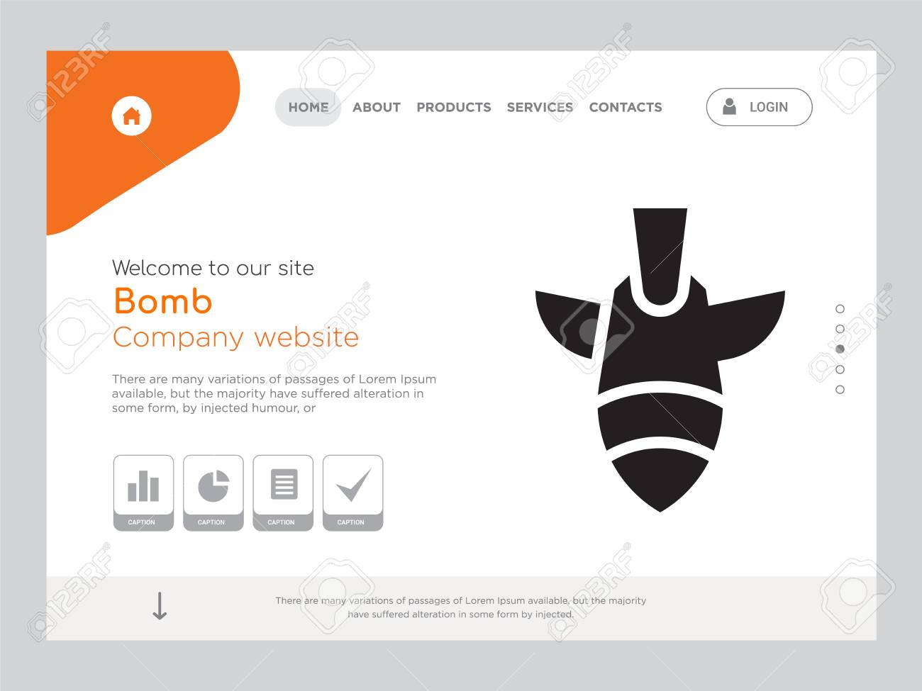 Quality One Page Bomb Website Template Vector Eps, Modern Web