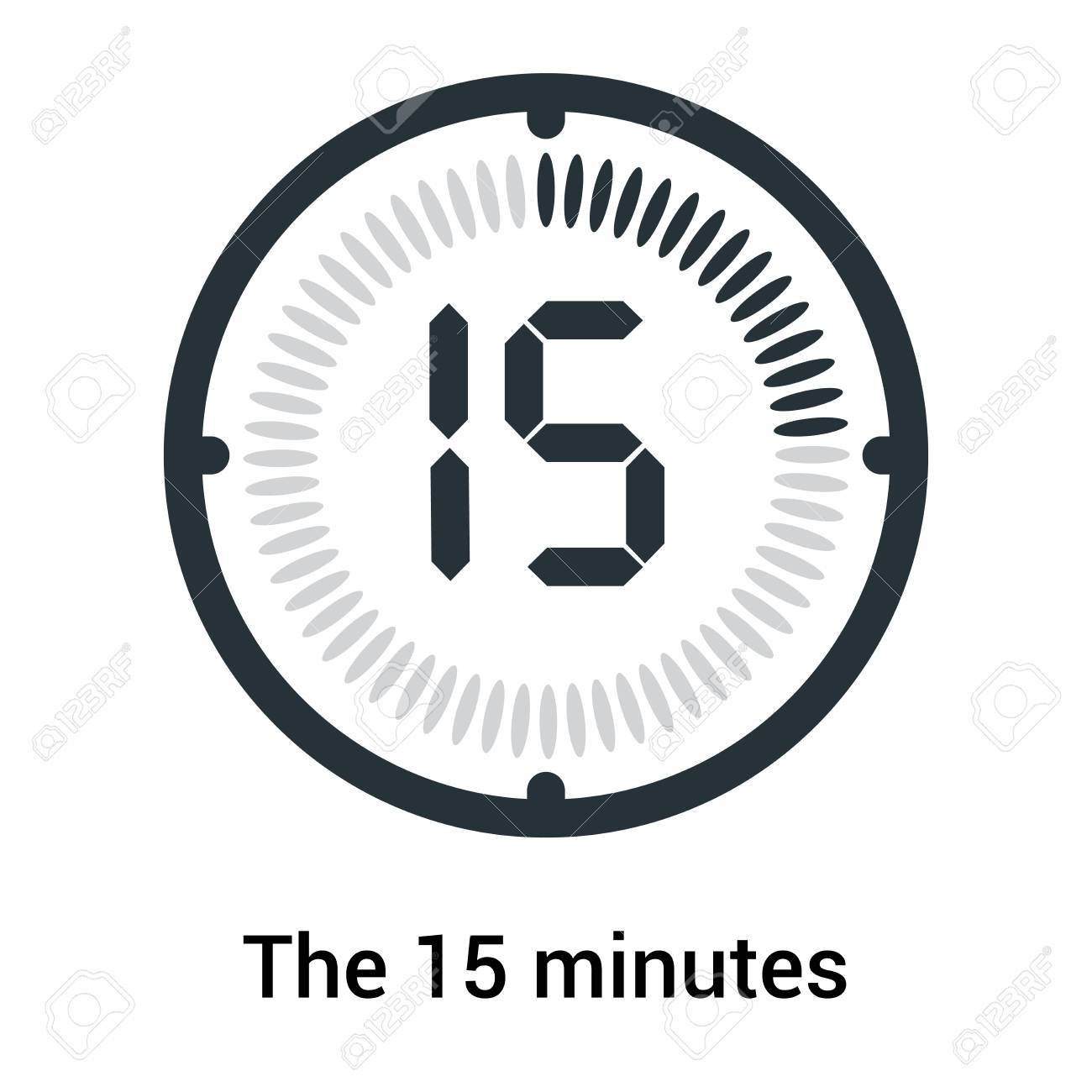 The 15 minutes icon isolated on white background, clock and watch,
