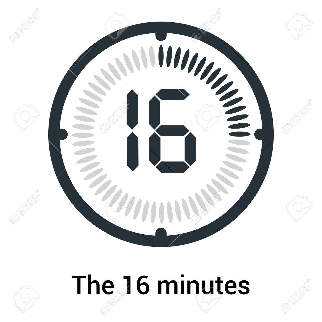 The 16 minutes icon isolated on white background, clock and watch,