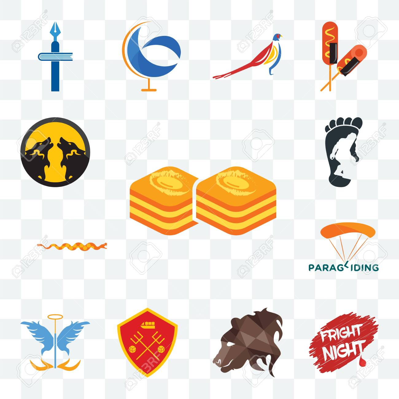 Set Of 13 Transparent Editable Icons Such As Baklava Fright Royalty Free Cliparts Vectors And Stock Illustration Image 124297962