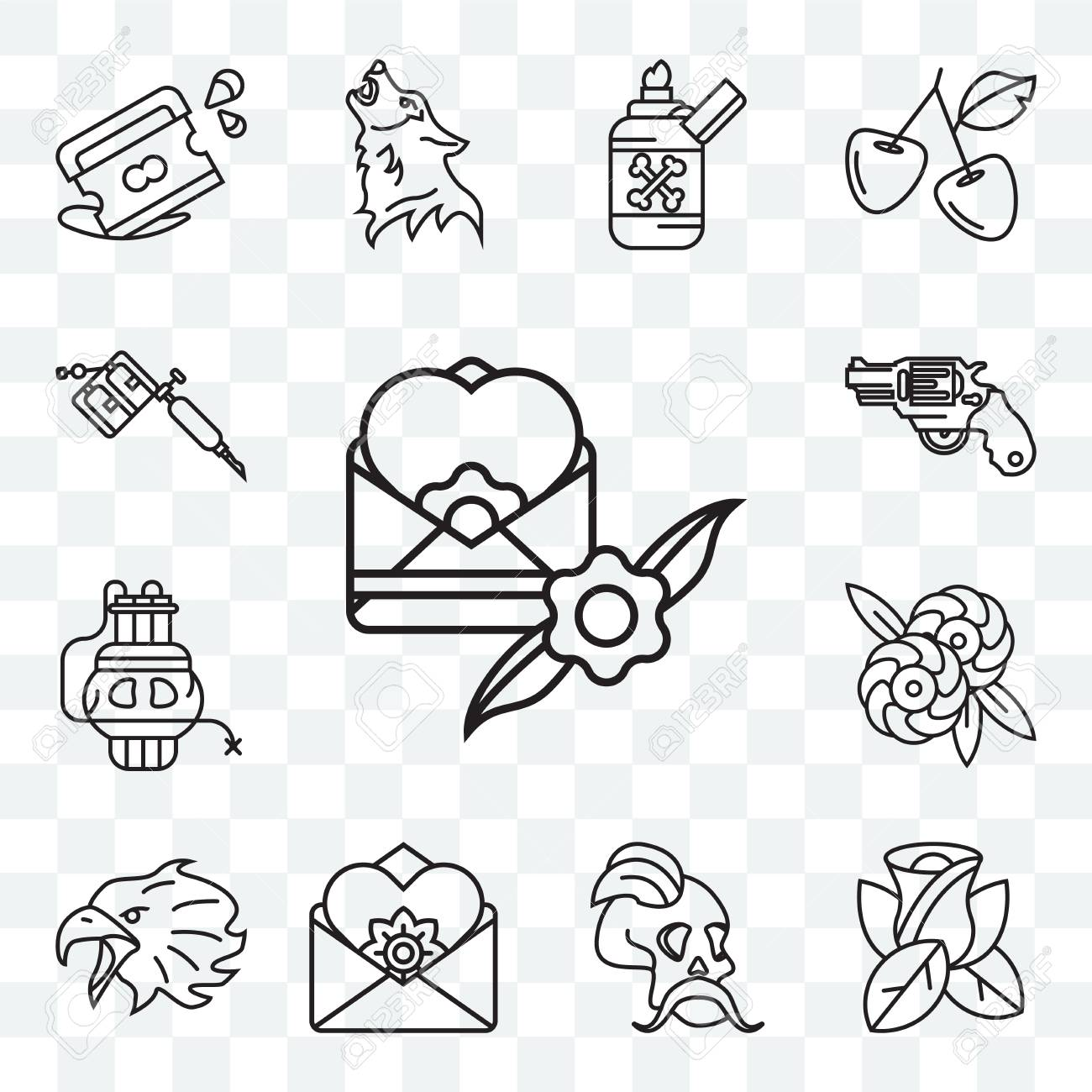 Set Of 13 Transparent Editable Icons Such As Envelope Rose