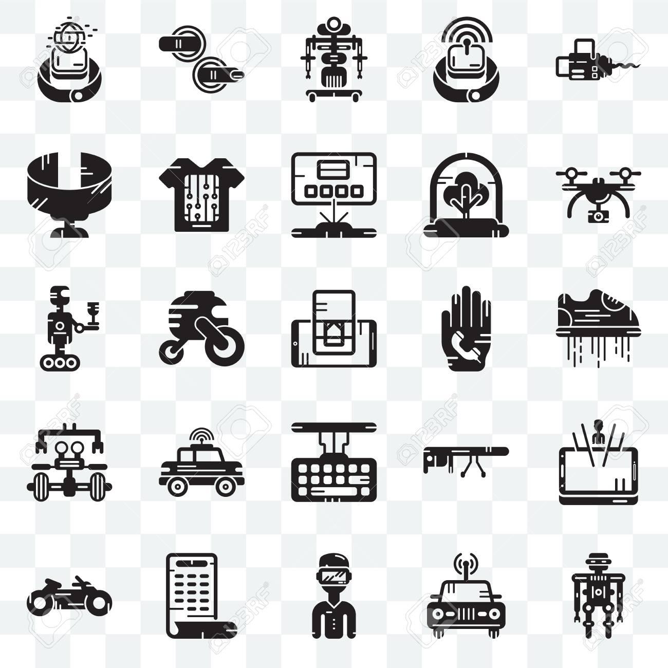 Set Of 25 transparent icons such as Robot, Car, Smartphone, Motorbike,