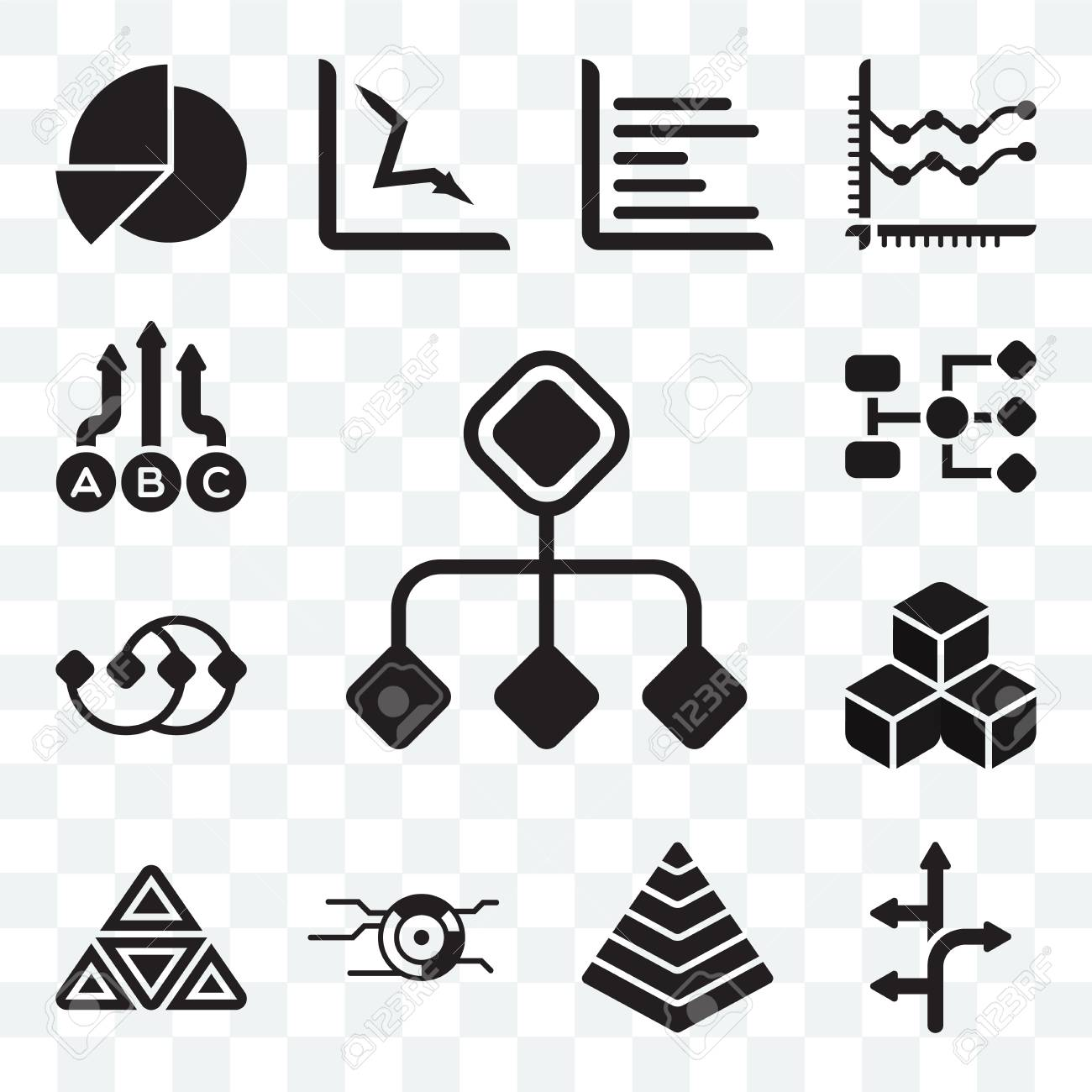 Set Of 13 Transparent Icons Such As Diagram Arrows Pyramid