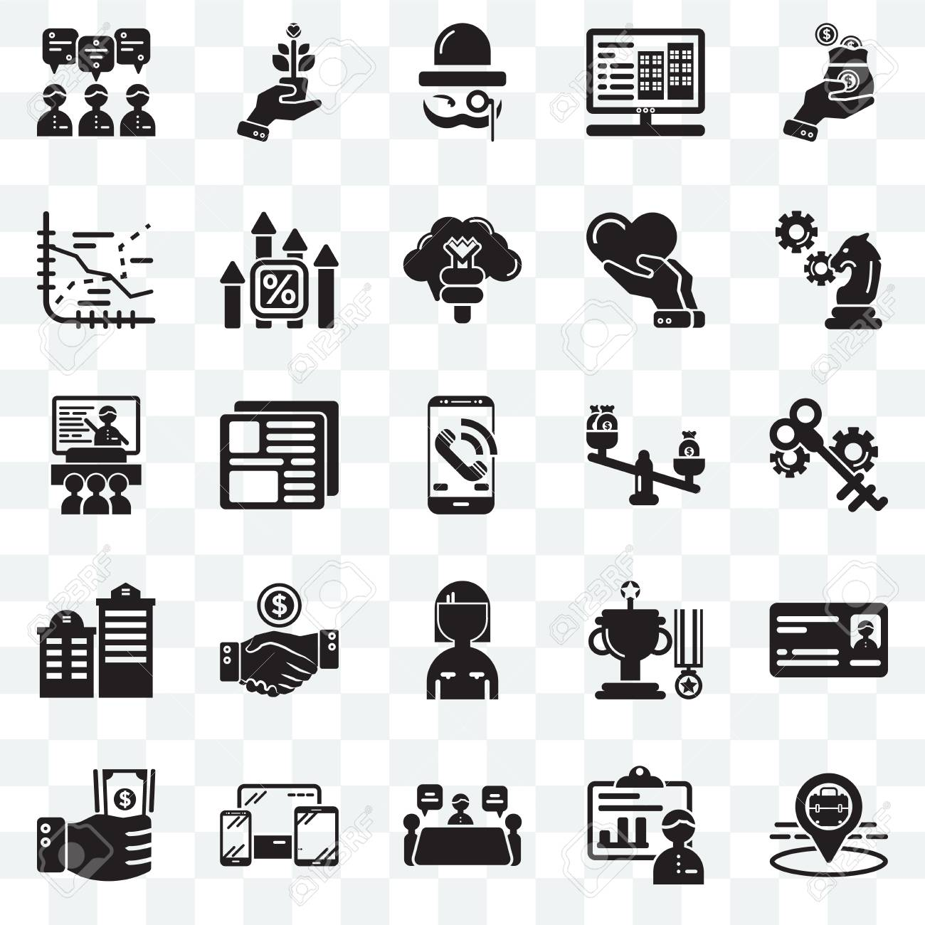 Set Of 25 transparent icons such as Placeholder, Presentation,