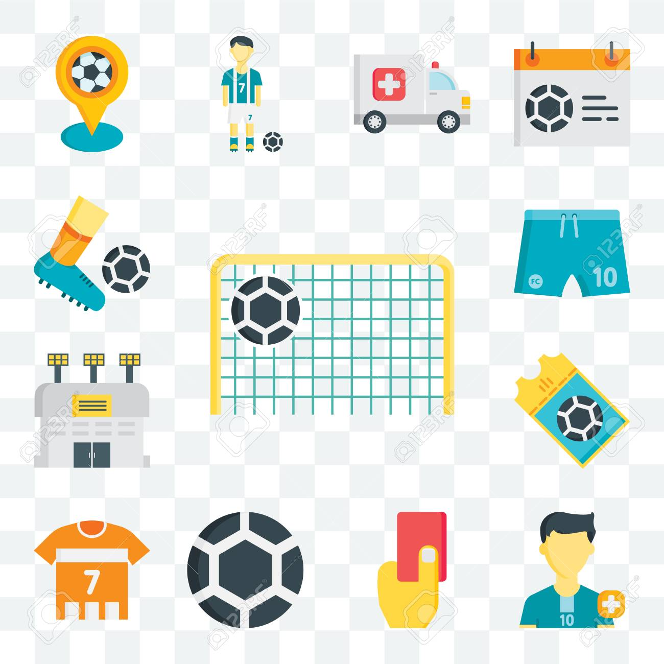set of 13 transparent editable icons such as goal soccer player