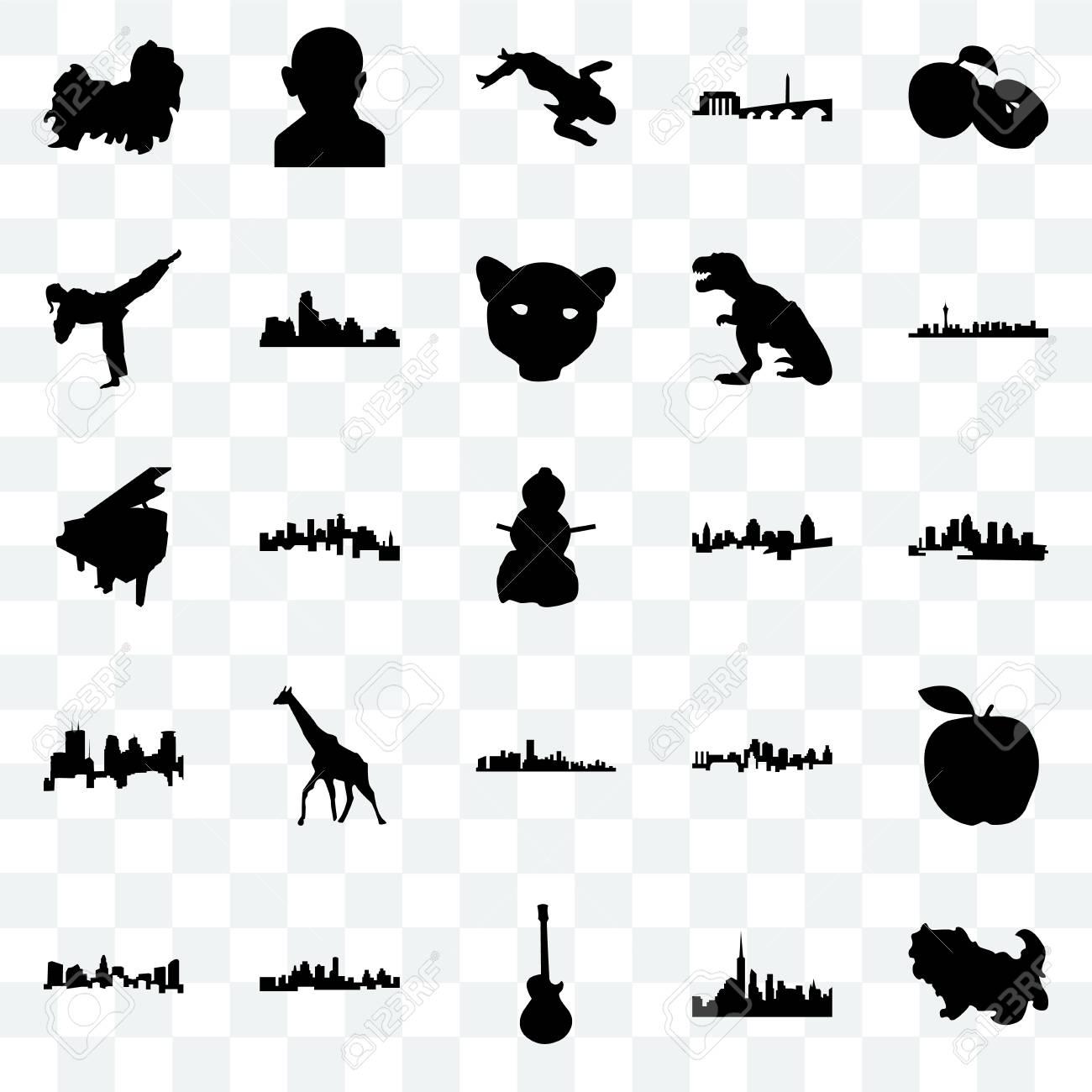 Set Of 25 Transparent Icons Such As Shih Tzu Florida Las Vegas