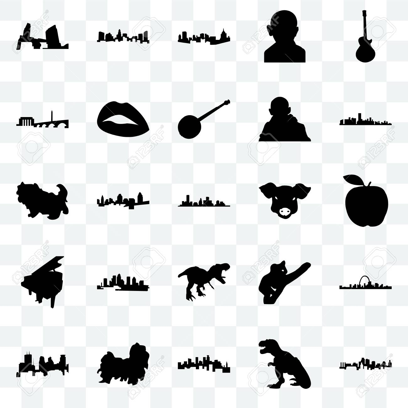 Set Of 25 Transparent Icons Such As Kansas City T Rex Minnesota
