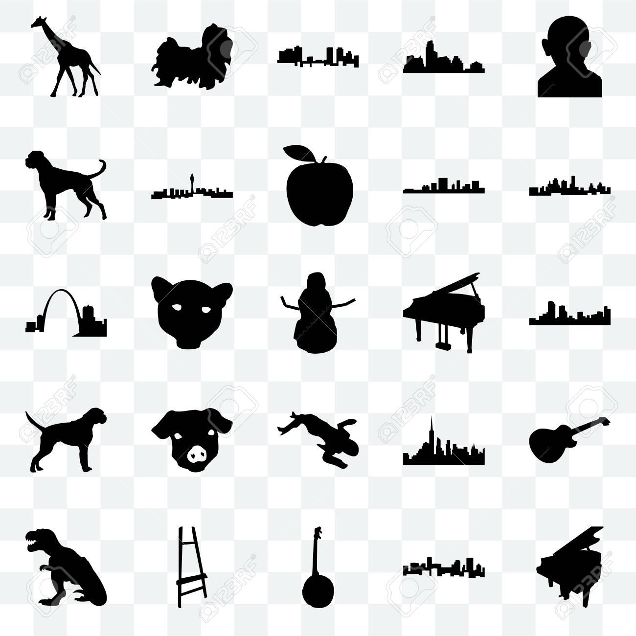 Set Of 25 Transparent Icons Such As Grand Piano Denver Kansas
