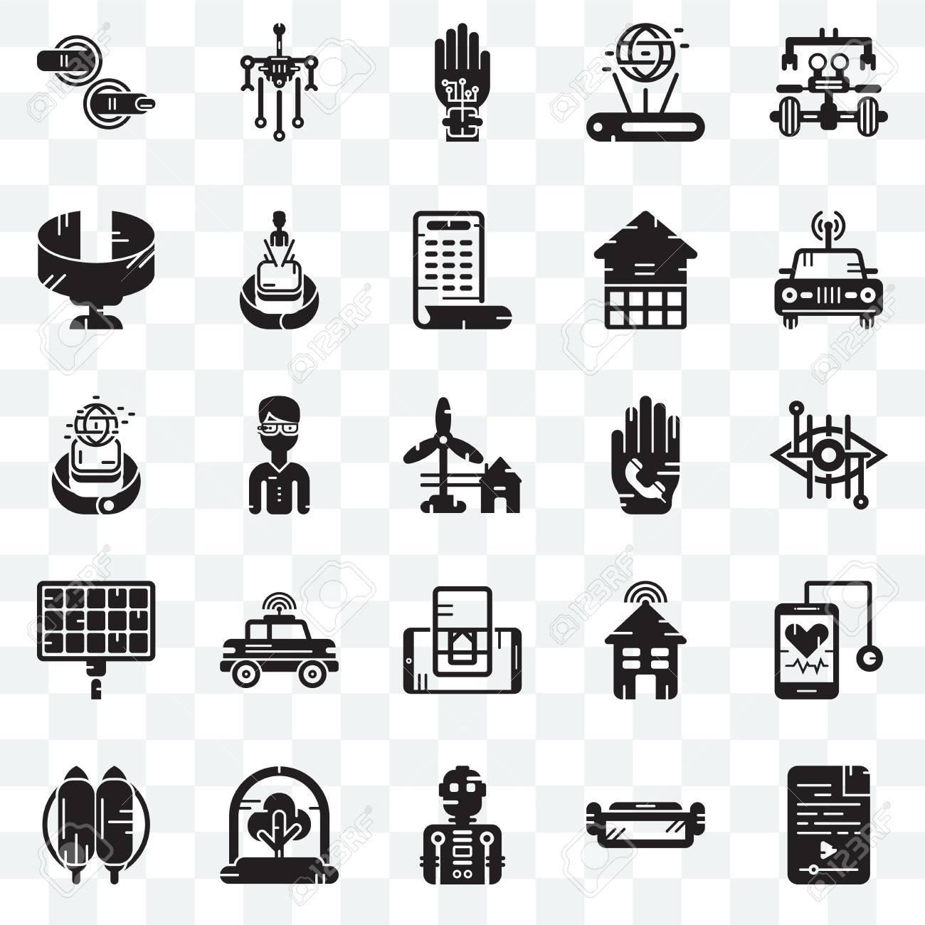 Set Of 25 transparent icons such as Audio file, Ar glasses, Robot,