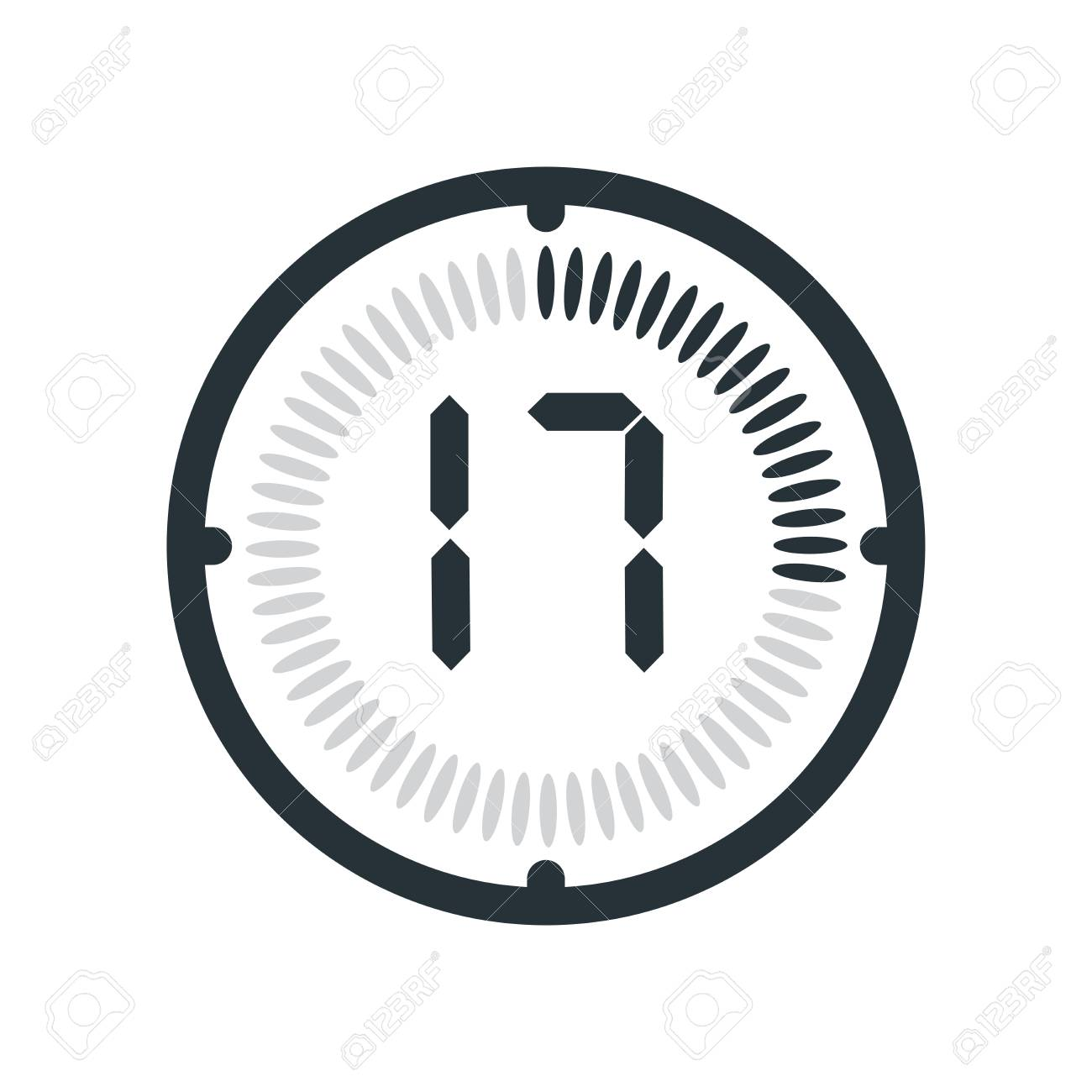 The 17 minutes icon isolated on white background, clock and watch,