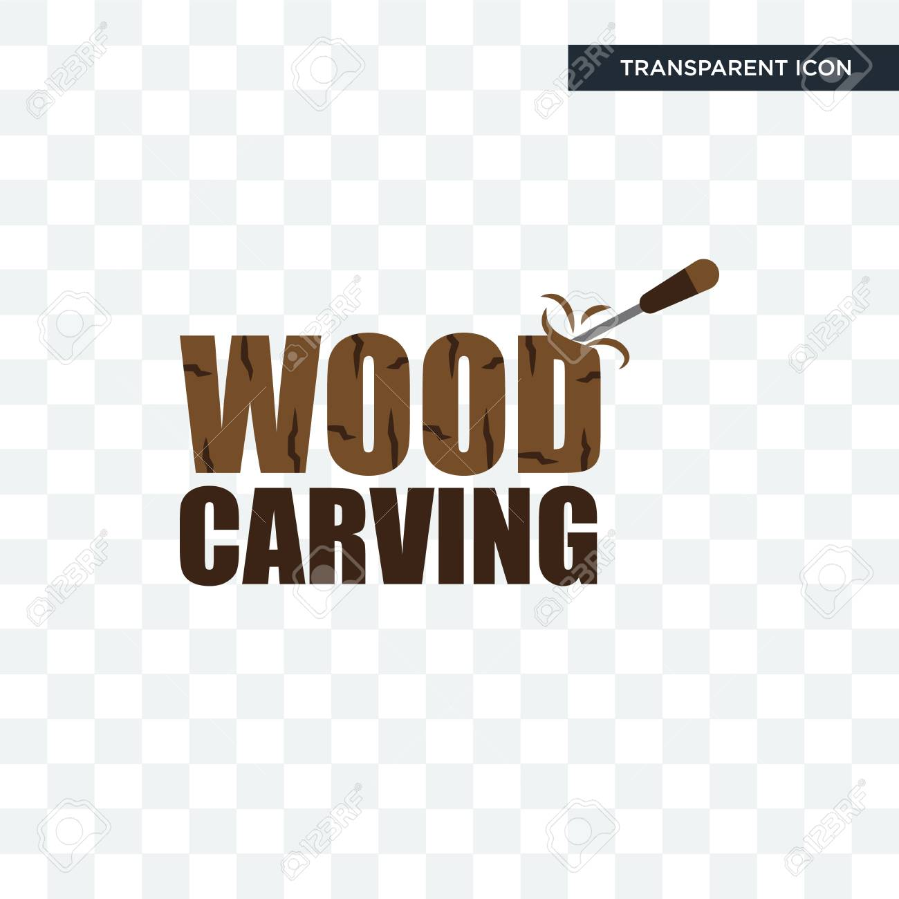 wood carving vector icon isolated on transparent background, wood carving logo concept - 107946778