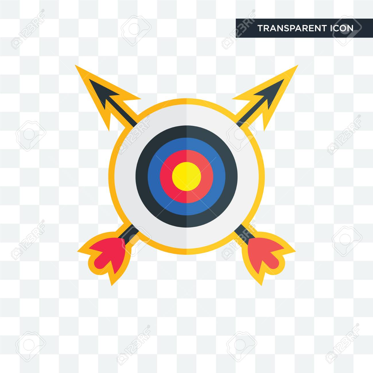 archery vector icon isolated on transparent background, archery