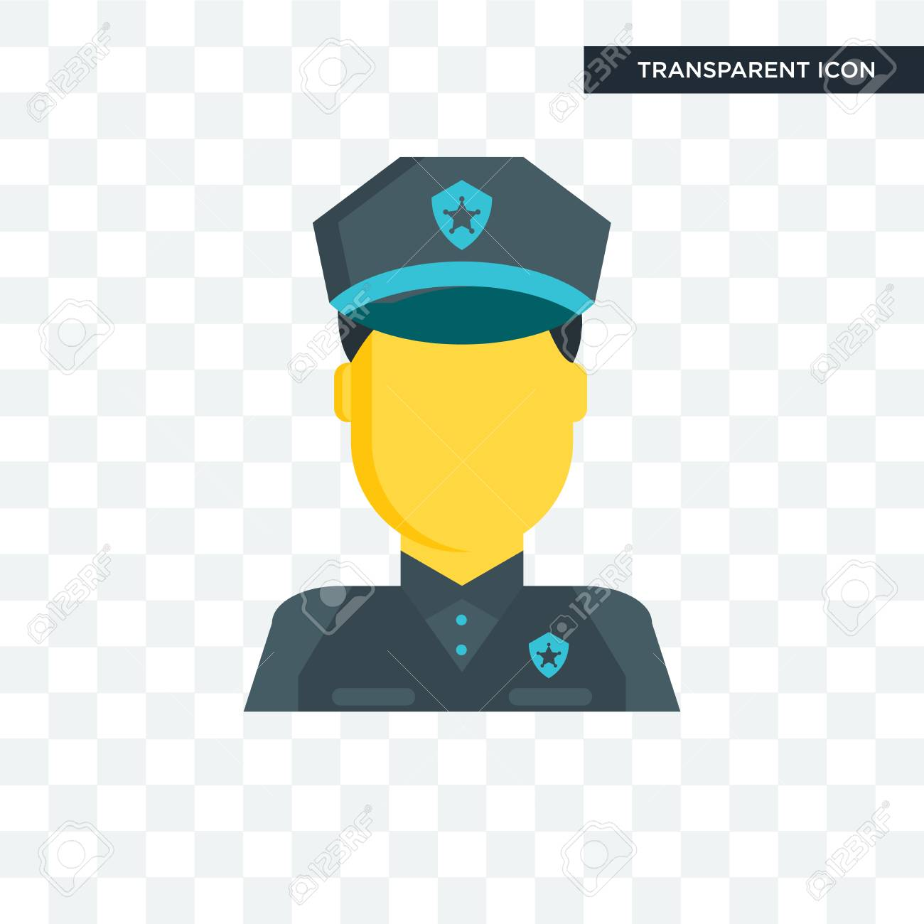6310734cf7b7ba Police vector icon isolated on transparent background, Police logo concept  Stock Vector - 108262619
