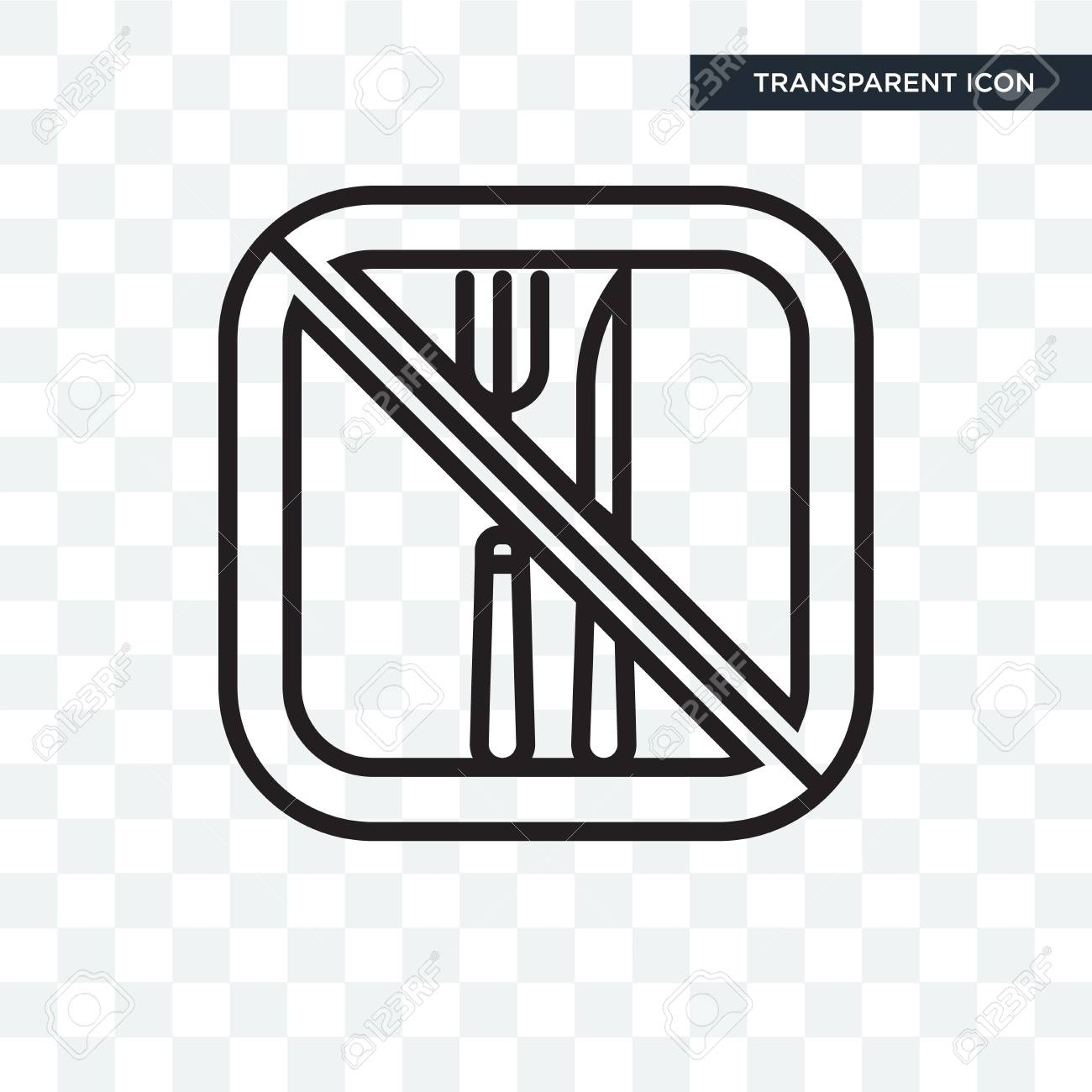 No food vector icon isolated on transparent background, No food