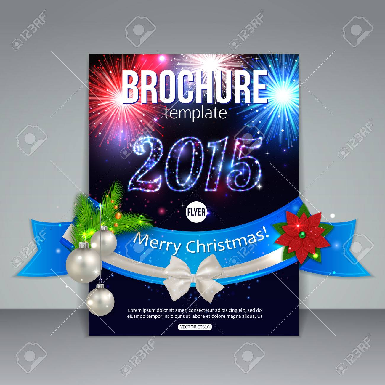 christmas brochure template abstract flyer design xmas christmas brochure template abstract flyer design xmas fireworks fir tree white bow